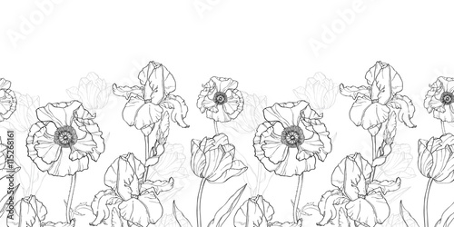 Vector Vintage Black White Flowers Drawing Horizontal Border Seamless Repeat Pattern With Tulips Poppies