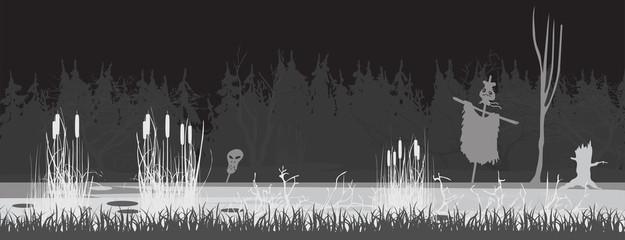 black night swamp
