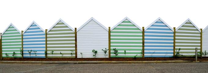 Row of beach huts in Seaton, Devon