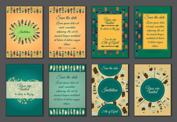 Set of boho ornament illustration style concept. Art traditional, poster, book, abstract, ottoman motifs, element. Decorative ethnic greeting card or invitation design background.