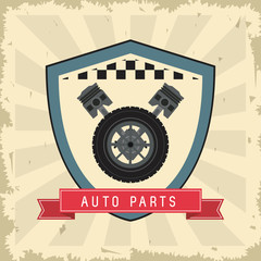 Grunge and Striped illustration. Auto part design. Vector graphi