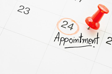 The words Appointment on calendar.