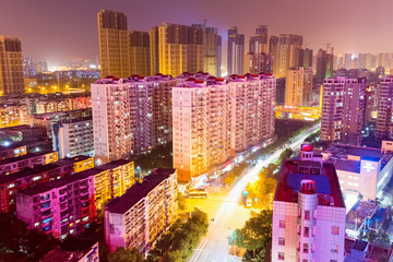 residential area at night in wuhan