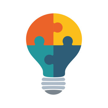 Puzzle concept represented by Jigsaw and bulb icon. isolated and flat illustration