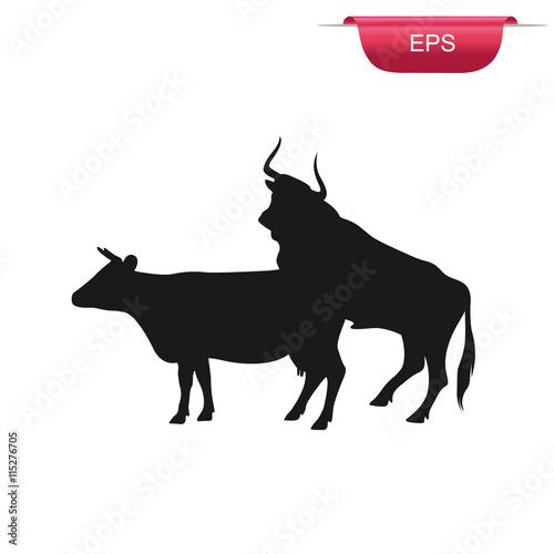 cow and bull sex, farm animals, icon, vector illustration