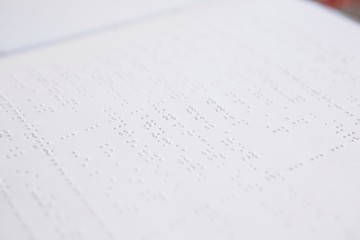 Close-up of braille book