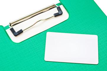 Blank white Plastic card on bill.