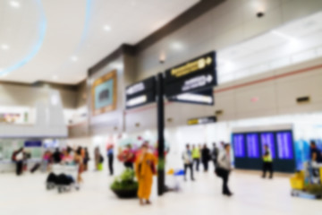 Blurred image of the passengers in the airport. For use as a background.