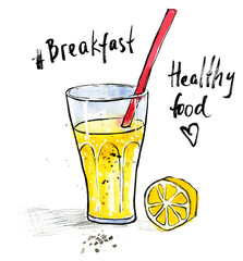 Watercolour illustration of lemonade juice glass