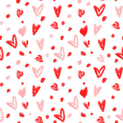 Stylish pattern with red and pink watercolour hearts
