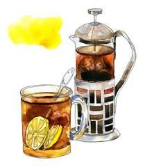 Black tea with lemons in a glass mug