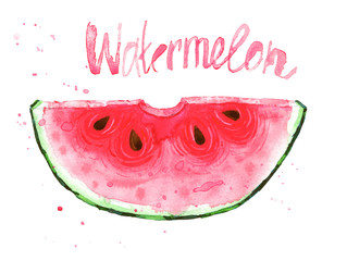 Watercolour illustration with red watermelon slice