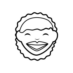 Avatar cartoon concept represented by happy woman icon. isolated and flat illustration