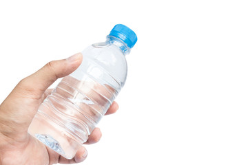 Water bottle with Hand isolated on white Background. This has clipping path
