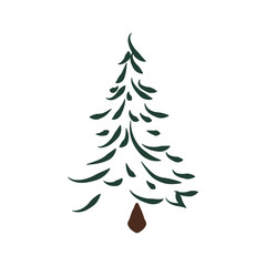 Nature and plant concept represented by pine tree icon. isolated and flat illustration