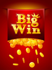Big win poster with Falling golden coins. Big Win banner. playing cards, slots and roulette.