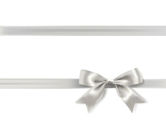 silver bow on white background. vector illustration