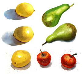 Watercolor fruits set: red apples, lemons, green pears.