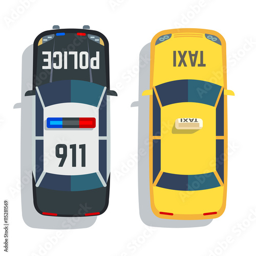 quotpolice and taxi cars top view vector set car for taxi