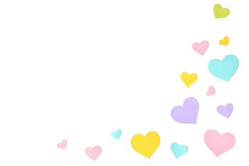 Pastel heart shape paper cut background