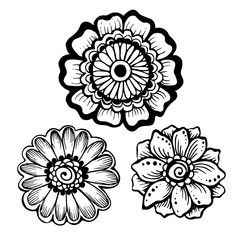 Set of hand drawn mehendi flowers. Can be used for coloring books, tattoo, greeting cards and others