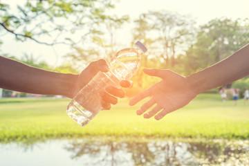 Handle water bottle to hand