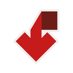 Direction concept represented by red arrow icon. isolated and flat illustration