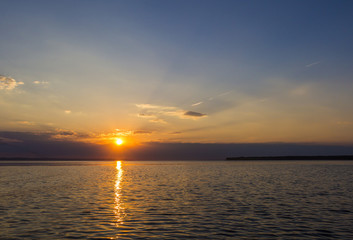 Evening sunset on the lake