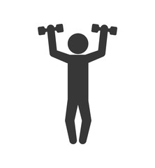 Healthy lifestyle concept represented by weight lifting icon. isolated and flat illustration