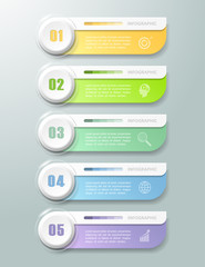 Abstract 3d infographic 5 options,  Business concept infographic template