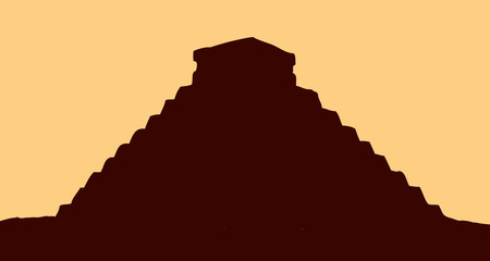 Temple of the Aztecs. Vector drawing
