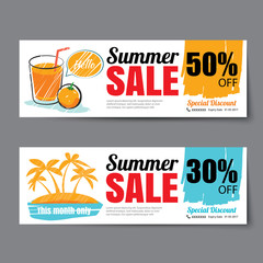 Summer sale voucher template.Discount coupon. Banner hand drawn