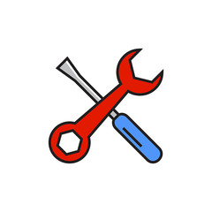 Spanner and Screwdriver Line Icon