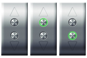 Elevator control panel buttons isolated on white background.