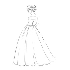 Vector bride model contour outline illustration of pretty young