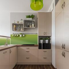 Beige furniture in kitchen