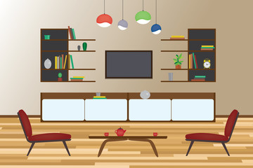 Home Interior flat vector design. Living room and dining room with furniture. Set