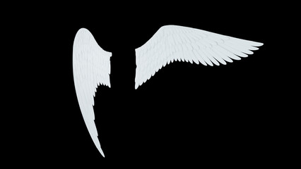 Angel white wings isolated on a black background 3D illustration render