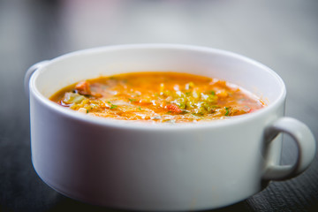 delicious soup in a dish in a restaurant