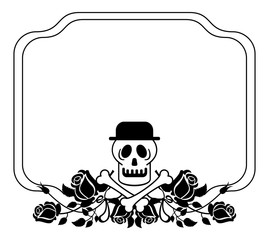Black and white frame with skull in hat and roses. Vector clip art.