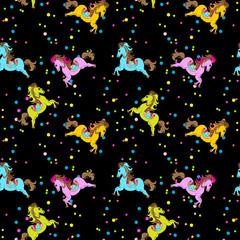 Horse Toy Birthday Seamless Pattern