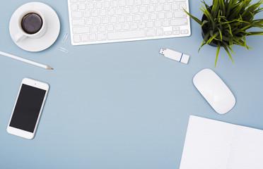 Top view modern office desk