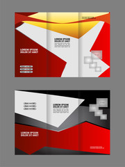 Template design trifold brochure with polygons. Editable and light vector with places for photos. Proportionally A4