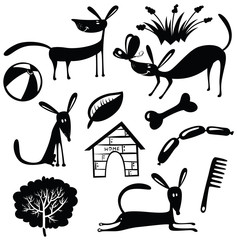 Vector cute dogs silhouettes set