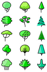 Vector thin and simply line art icons set with trees