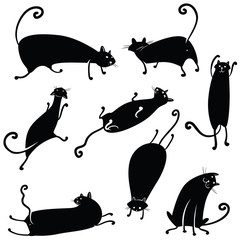 Vector silhouettes of cute black cats