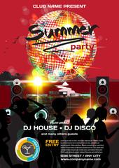 Vector summer party invitation disco style. Night beach, dj, wom