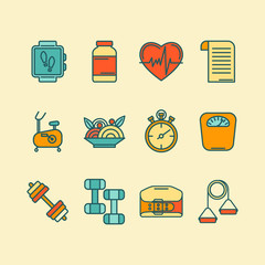 Vector set of color line icons for personal trainer program
