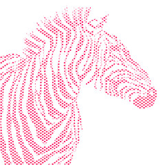Animal illustration of vector red zebra striped silhouette. EPS