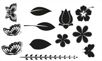 Pflanzen, Blumen, Blüten, Schmetterlinge, Ranken, Blätter - Set